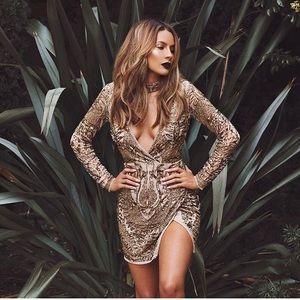 MISSGUIDED gold sequin embellished dress